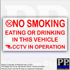 Vehicle No Smoking,Eating,Drinking,CCTV In Operation Stickers-100x50mm-Van,Lorry,Warning Sign
